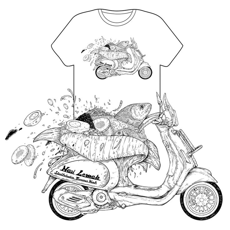 Tee designs for Vespa Sprint Adventure from SlothK! Do check out and follow their journey via Instagram and FB page! #vespasprintadventure #slothstudio #slothk #tee #design #line #ink #art #Malaysia Nasi Lemak