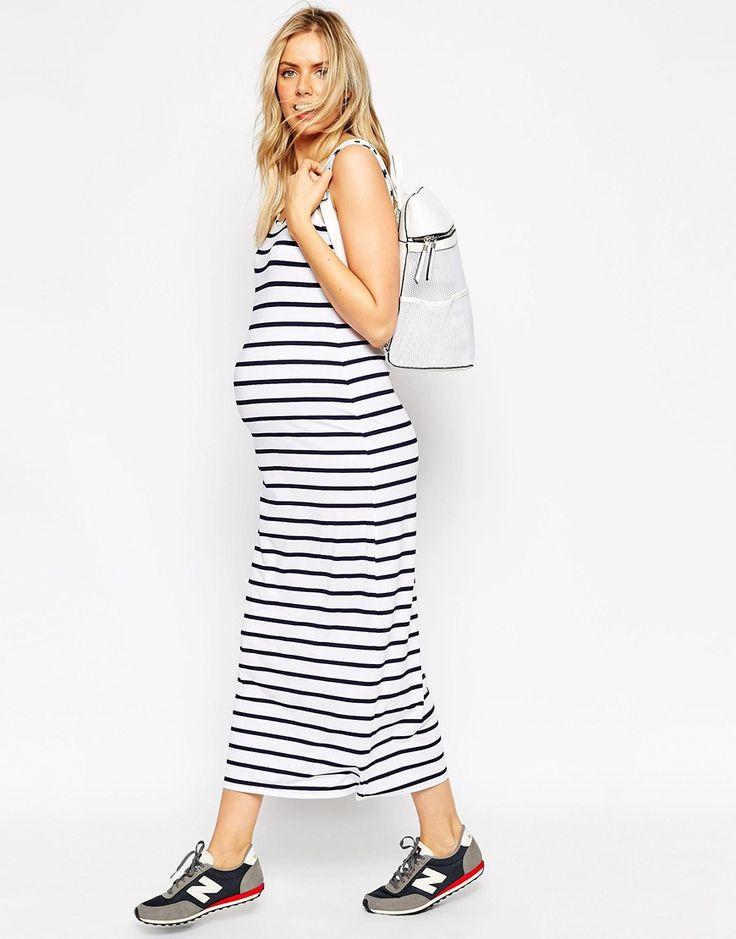 Imagen 4 de Vestido largo de rayas llamativas de ASOS Maternity