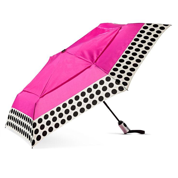 ShedRain Compact Auto Open/Close Air Vent Umbrellas - Pink Polka Dot