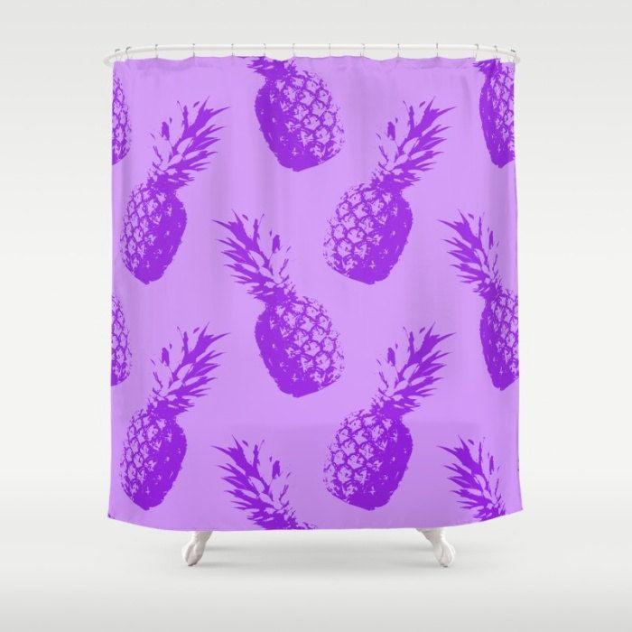 Captivating Purple Shower Curtain, Tropical Bath Decor, Coastal Decor, Bathroom  Accessories, Pineapple Shower