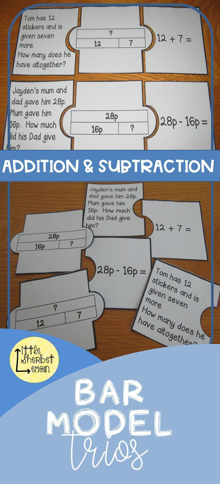 Addition And Subtraction Bar Model Trios Grade 1 2 Addition And Subtraction Bar Model First Grade Lessons Addition and subtraction bar model