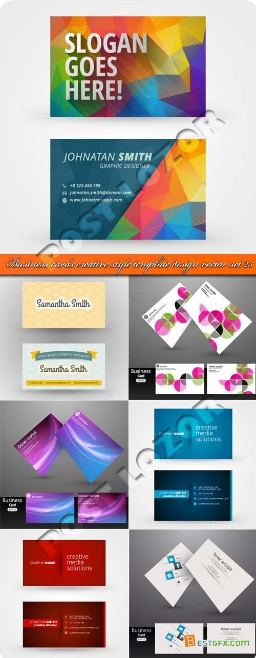 Business cards creative style template design vector set 25