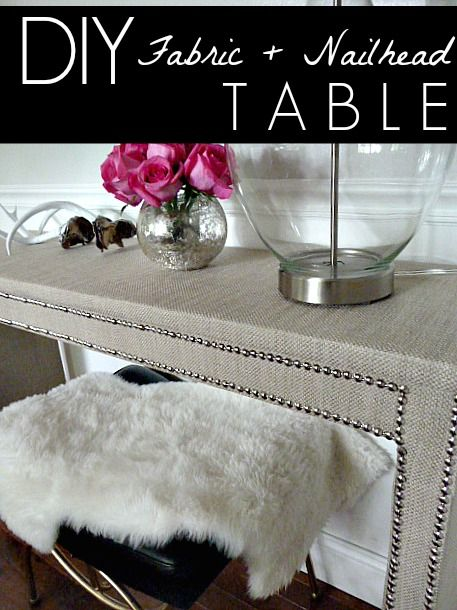 Table Makeover with Fabric and Nailhead || Turn any table or dresser glam with this easy way to adhere fabric to furniture.