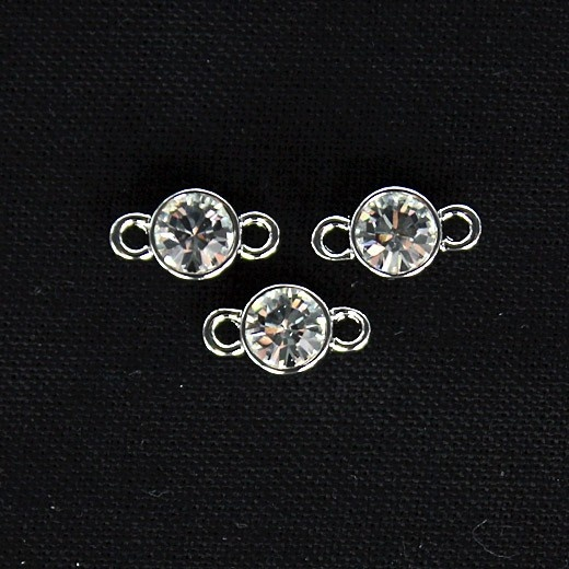Bead 7 mm, plated in white gold with swarowski crystal Click on the image to see more!