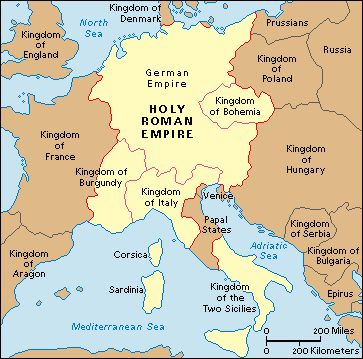 The Holy Roman Empire was a union of territories in Central Europe during the Middle Ages and the Early Modern period under a Holy Roman Emperor who submitted to thePope.