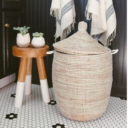 Laundry basket two toned stool while and natural wood Scandinavian design