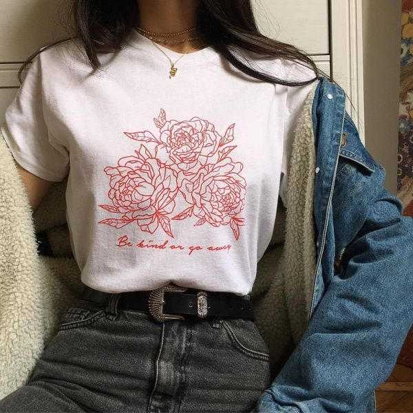 Be Kind Or Go Away Rose Print Tumblr Grunge Aesthetic T Shirt Vintage Hipsters Cute Tee Wish Kpop Fashion Aesthetic Clothes Aesthetic T Shirts