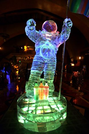 At the Jeremy Scott and Adidas party sponsored by Svedka, a towering ice sculpture took the form of MTV's Moonman statue.  Photo: Charley Gallay/Getty Images
