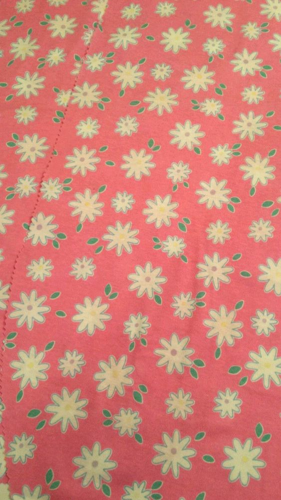 Vtg Pink Daisy Flower Jersey Fabric Remnants Hampton Print Works 1996    Crafts, Fabric   eBay!