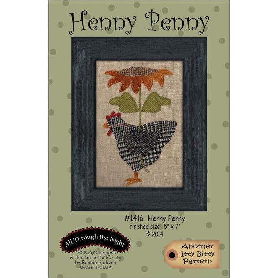 Primitive Folk Art Wool Applique Pattern HENNY PENNY Fits
