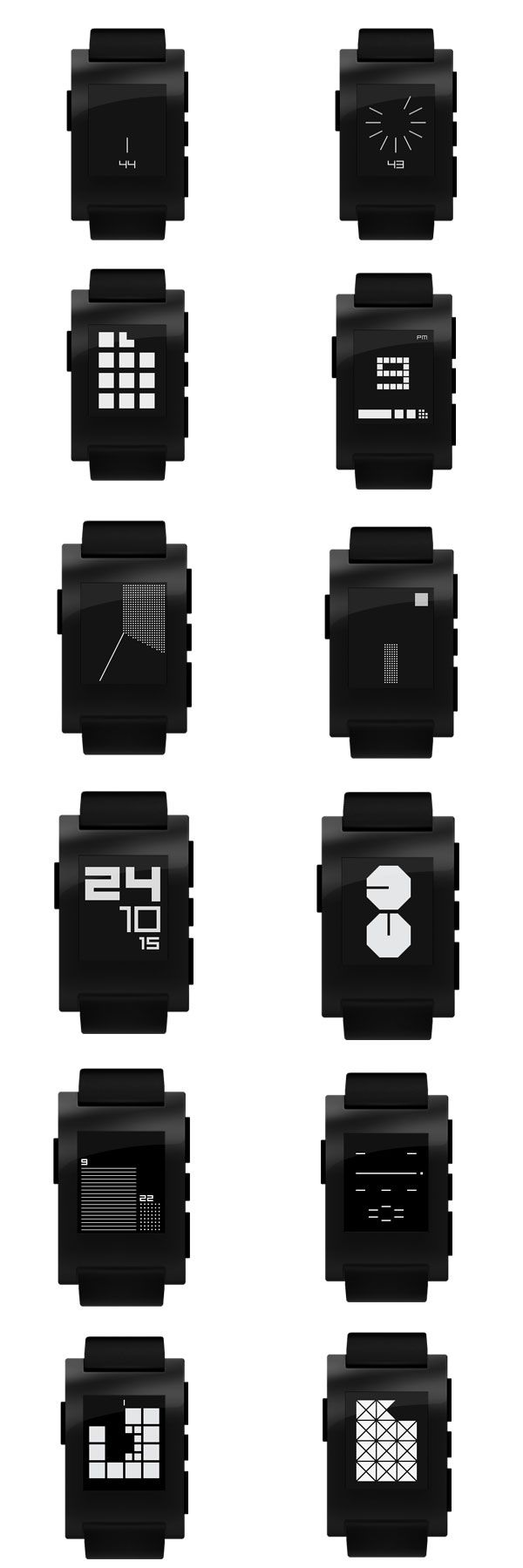 """ttmm - Watch Collection by Albert Salamon  - The """"ttmm"""" collection of wristwatch apps was designed for specifically for smartwatches with 144×168 pixel screens such as Pebble and Kreyos. 15 different face options give the wearer a multitude of stylized options, each with its own puzzling way of displaying the time. 