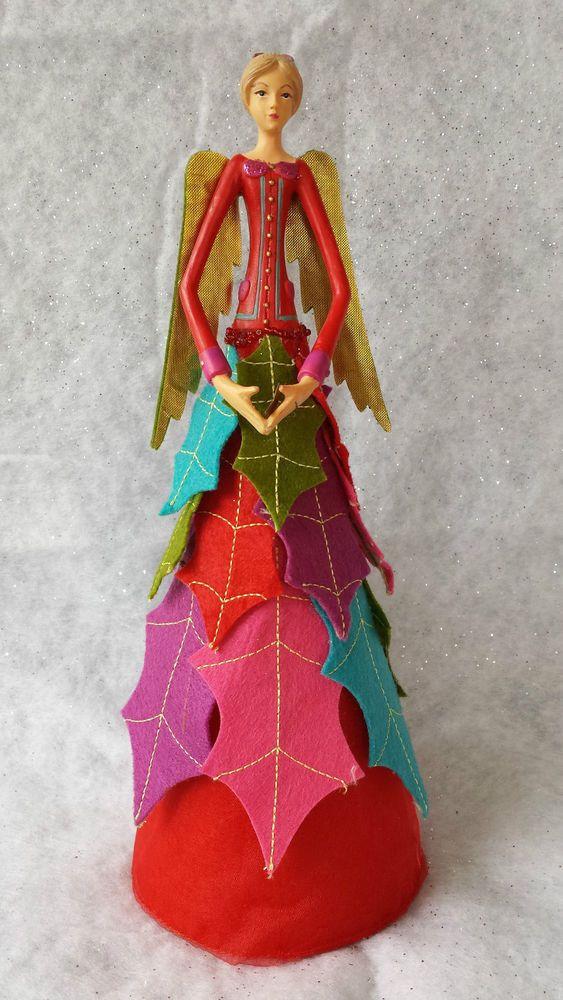 Gisela Graham Christmas Tree Fairy Topper Top Vintage Chic Red Decoration Felt