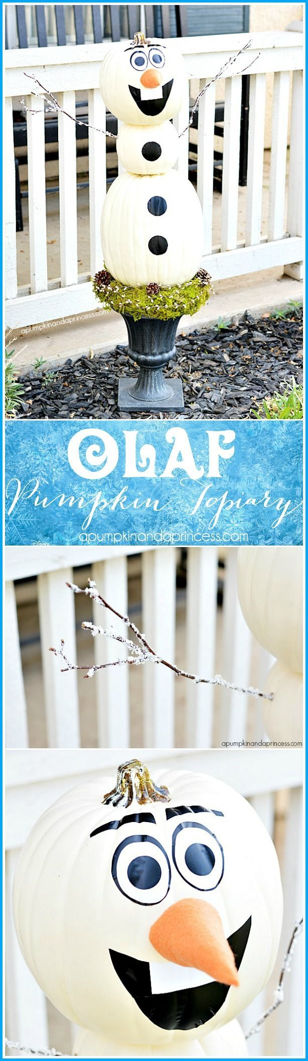 DIY Frozen Olaf Pumpkin Topiary | Great Outdoor Decoration Through Christmas