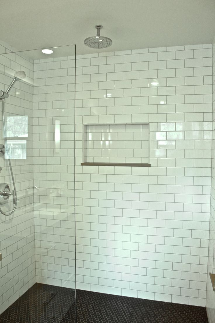 DP Building   Master Bathroom   White Subway Tile, Black Hexagon Tile Floor Part 82