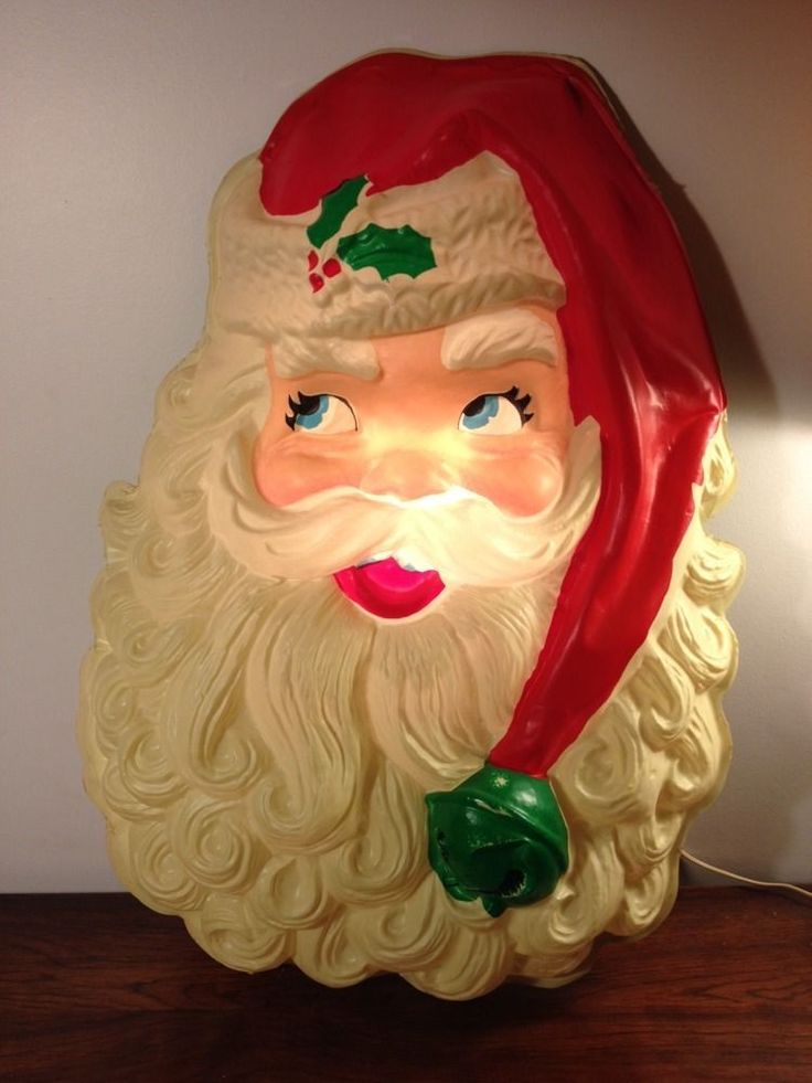 Vintage 28 lighted santa face christmas blow mold wall for Santa decorations