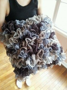 Knit crochet pillows, skirts, scarves.....even has directions on using your fingers instead of hooks.....trying for baby blanket, will see if I can pull it off!