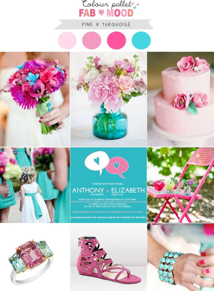Pink Turquoise Wedding colors palette ideas | http://fabmood.com/pink-turquoise-wedding-board/