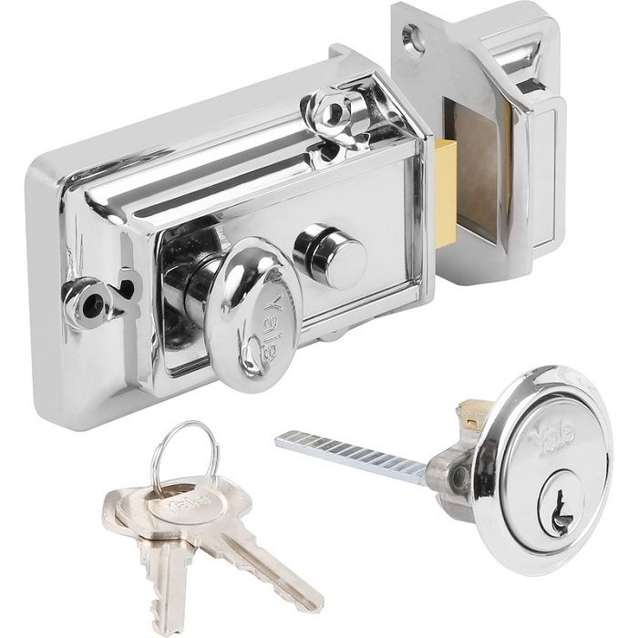 Yale Traditional Rim Nightlatch With Cylinder Chrome - locks & latches - nightlatches - YALE Traditional Rim Nightlatch With Cylinder Chrome - Timber, Tool and Hardware Merchants established in 1933