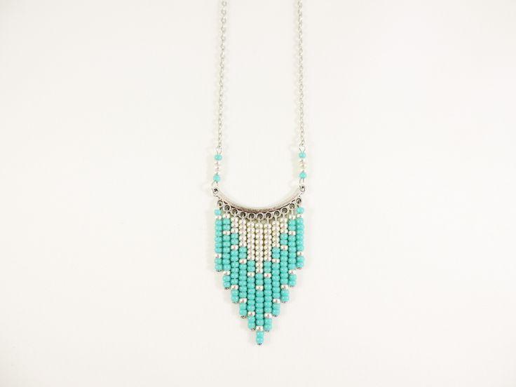 Sautoir IROQUOIS - Argent Vieilli - Vert Turquoise : Collier par sabrina-bijoux