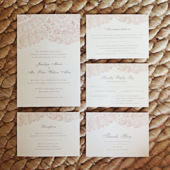 Blush lace Wedding Invitations Suite By brossie belle