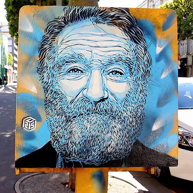 Robin Williams, 1 des 18 portraits réalisé par C215 dans les rues de Vincennes – Tous droits réservés © C215