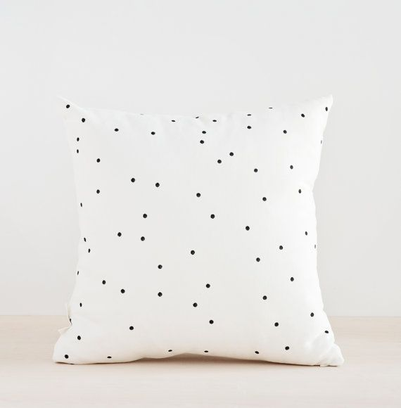 Black Dots Pillow Cover,Minimalist Hand painted Pillow, Decorative Cushion, Black Confetti Pillow Cover