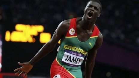 Kirani James wins the first ever medal for Grenada, and it's gold