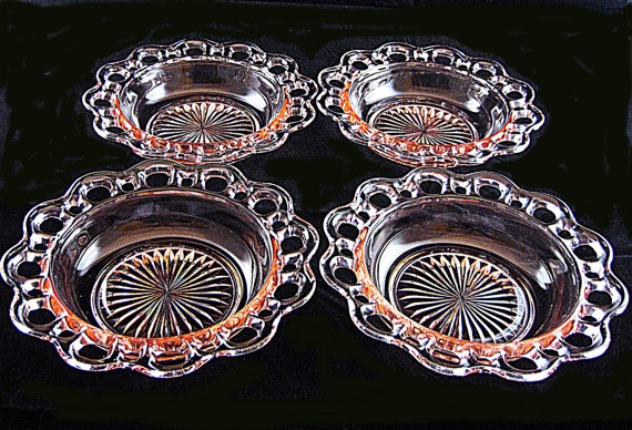 "Anchor Hocking Depression Glass Old Colony cereal bowls 6 1/2"" 1935-1938"
