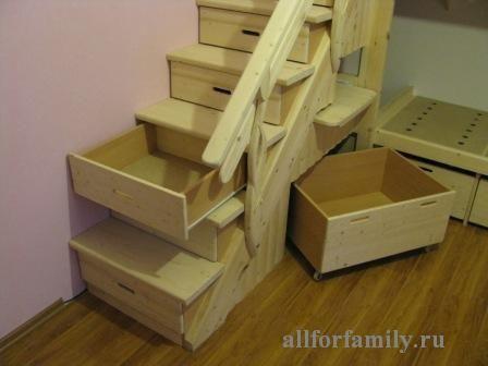 двухъярусная кровать, сделанная из дерева своими руками: выдвижные ящики в ступеньках лестницы