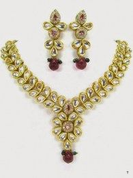 Flowral Necklace Set Studded With CZ And Purple Stones