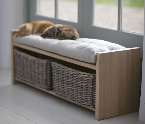 Cushioned Hallway Storage Bench With Wicker Baskets All