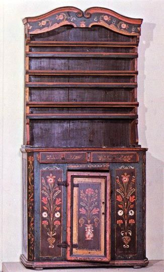 Bútorfestés Tálalószekrény. Homoródalmás (v. Udvarhely m.) Néprajzi Múzeum, Budapest