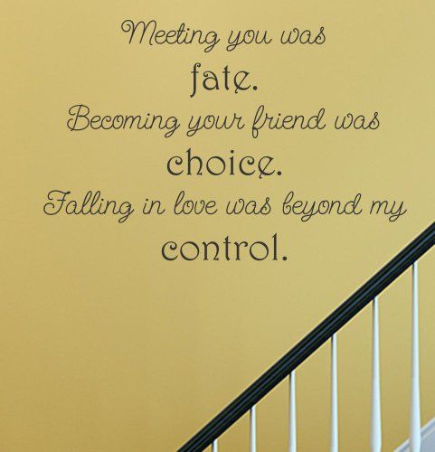 Friends turned Lovers: Meeting you was fate. Becoming your friend was choice. Falling in love was beyond my control.