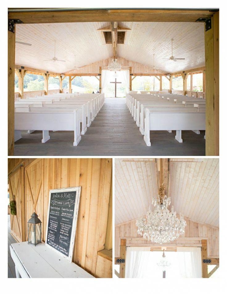 Mint springs farm wedding venue white church seats rustic ...