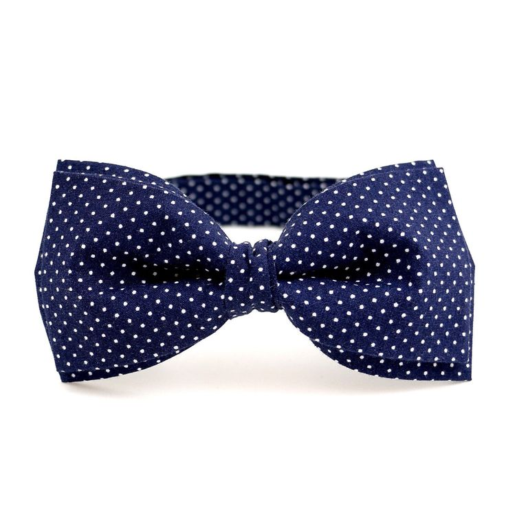 Navy blue polka dots pre ties bow tie