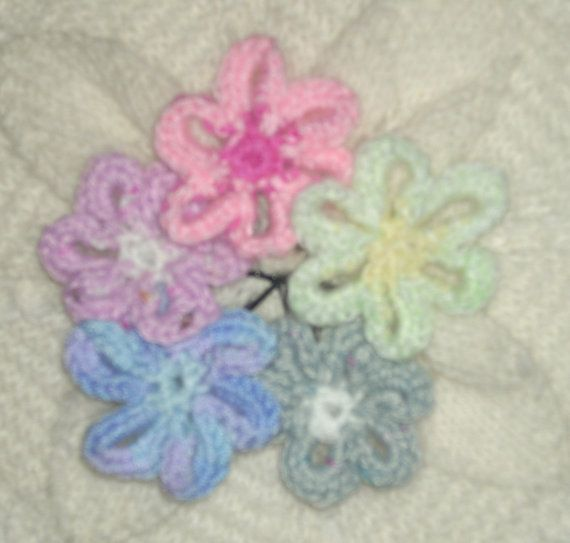 Set of 5 Crocheted flower decorative Hair by TheKnittingNannieGB