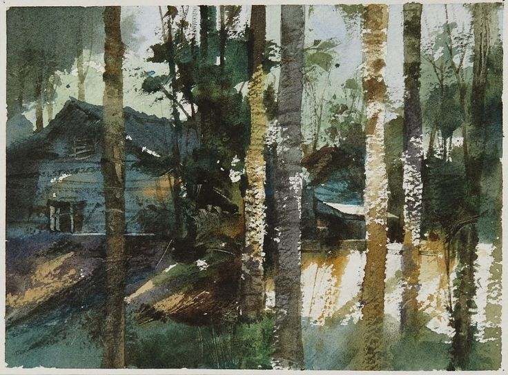 【台北植物園】---簡忠威老師透明水彩示範,32開超迷你小畫18*13 cm, Watercolour,....By Chien Chung Wei,18*13 cm