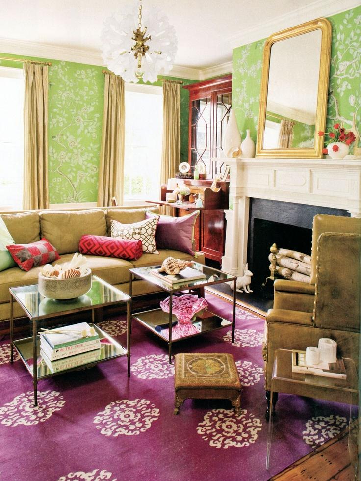 Pistachio + Lavender + Gold U0026 Beige Accents + Madeline Weinrib Aubergine  Mandala Cotton Carpet +