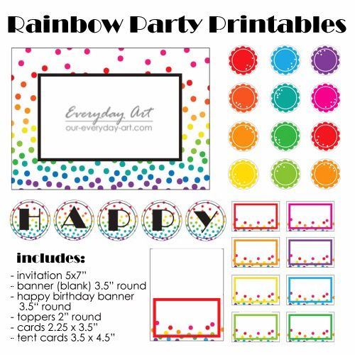 Rainbow Party Printables (Free!) by Everyday Art #rainbow #polkadot