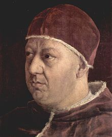 Pope Leo X, born to the Medici Dynasty, was Pope from 1513 to his death in 1521. The 2nd heir of Lorenzo the Magnificent, ruler of the Florentine Republic, he was elevated to the cardinalate in 1489. Following the death of Pope Julius II, Leo was elected pope after securing the backing of the younger members of the Sacred College. In 1517, Leo led a costly war that succeeded in securing a member of his dynasty as duke of Urbino, but which damaged the papal finances.