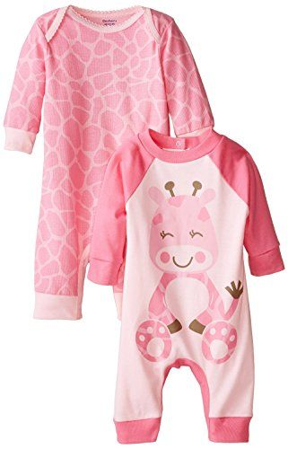 Two-pack of coveralls in various prints and designs Giraffe-pattern coverall features lap-shoulder neckline and snaps at inseam Coverall with giraffe character graphic features snap-up back and raglan-seamed sleeves Gerber Baby-Girls Newborn Coverall Two-Pack
