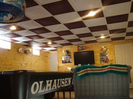 In Basement Checkerboard Paint The Drop Ceiling Tiles Blue And Orange Scott Rohlfs Basement