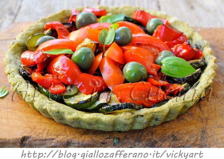 Crostata al basilico con verdure grigliate facile veloce, piatto unico leggero, pranzo, cena, ricetta con verdure, melanzane, zucchine, peperoni, ricetta sfiziosa