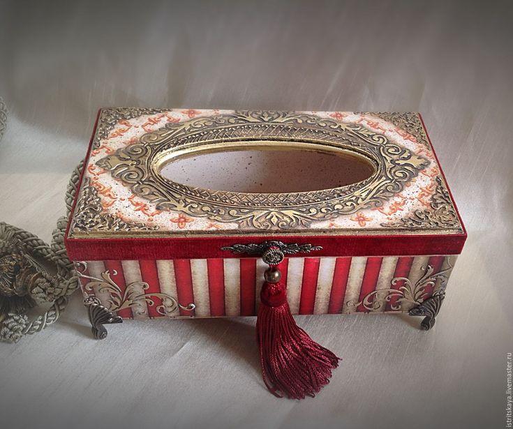 """Купить Салфетница """"Амальтея"""" - салфетница, салфетница декупаж, истрицкая, для дома и интерьера, салфетница на заказ, красный"""