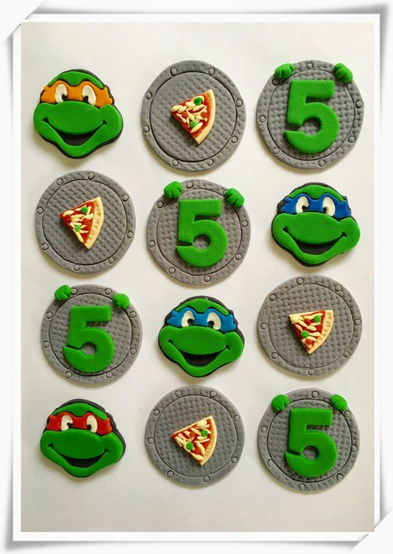 Set of 12 Ninja Turtles Cupcake toppers by SugaryLand on Etsy