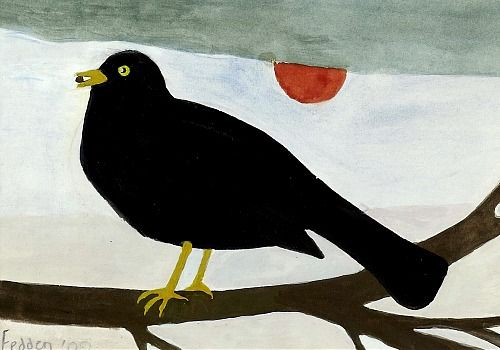 "Mary Fedden    ""Blackbird on a Branch"""