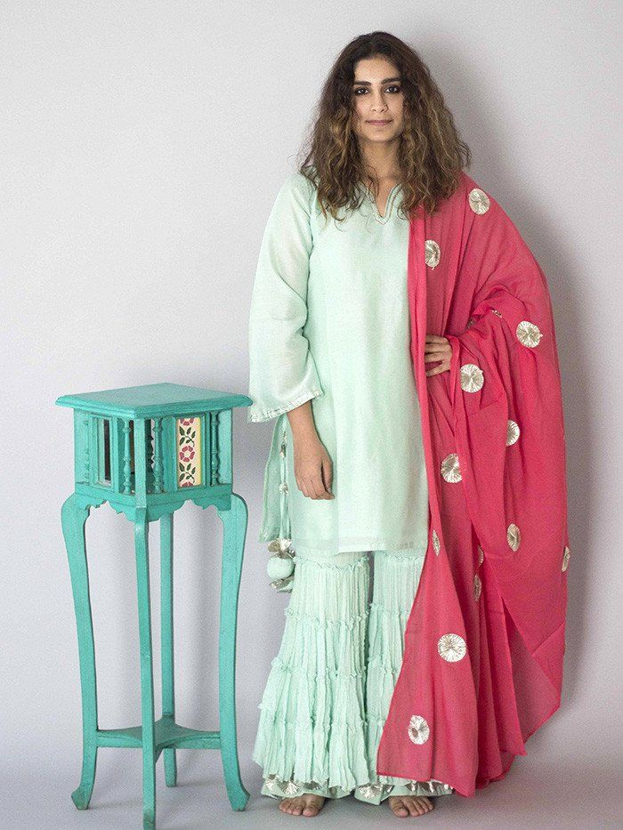 Mint Green Sharara Set with Pink Dupatta - 3 Piece