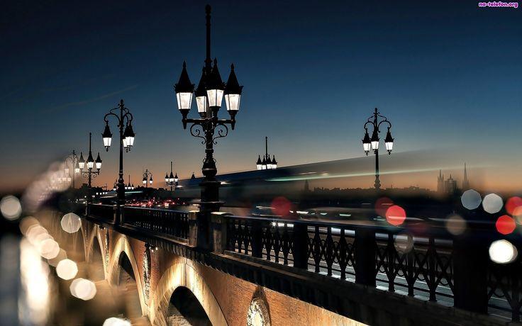 Rzeka, Most, Bordeaux, Latarnie, Zabytkowy, Francja