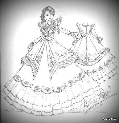 O vestido de prenda.