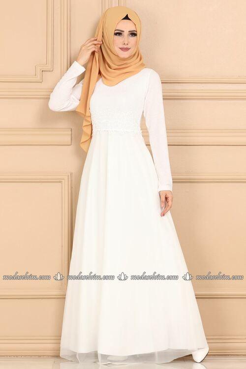 Modaselvim Abiye Beli Gupurlu Tesettur Abiye 3415ea240 Ekru Elbiseler Elbise The Dress